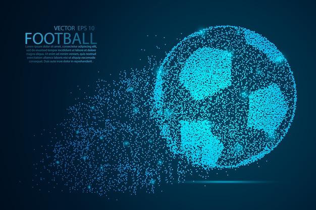 Glow glitter voetbal punt schalen op donkere achtergrond met stippen kleur blauwe effecten.