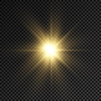 Glow heldere ster gloeiend licht barsten gele zonnestralen flare van zonneschijn