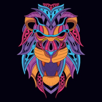 Glow in the dark lion head with decorative neon color