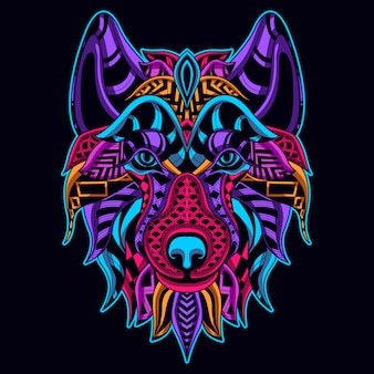 Glow in the dark style of wolf head