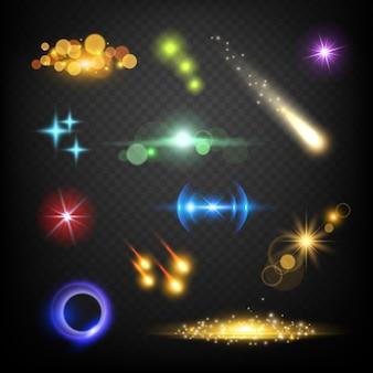 Glow lens effecten. glares bokeh cirkels barsten vuurwerk bliksem vector abstract sjabloon