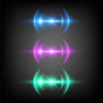 Glow lens effecten. schittert bokeh cirkels bliksem abstracte sjabloon