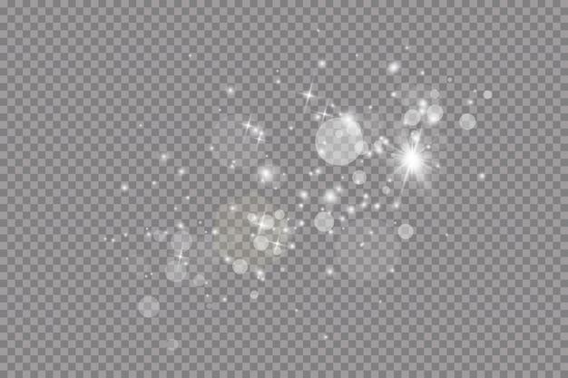 Glow lichteffect. illustratie. kerstflits. stof. vallende sneeuw. decoratie.