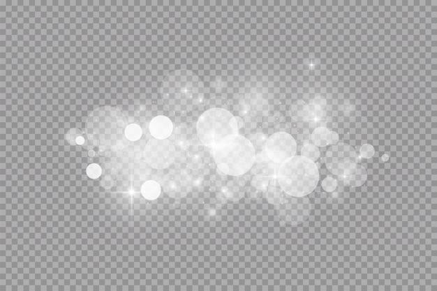 Glow lichteffect. illustratie. witte vonken en glitter speciaal lichteffect.