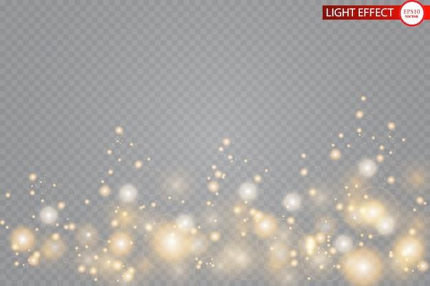 Glow lichteffect. sprankelende deeltjes van feeënstofsterren