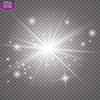 Glow lichteffect. starburst met glitters op transparante achtergrond. illustratie.