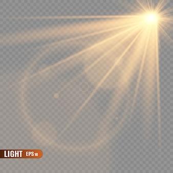 Glow lichteffect. ster barstte van sprankeling. zon.