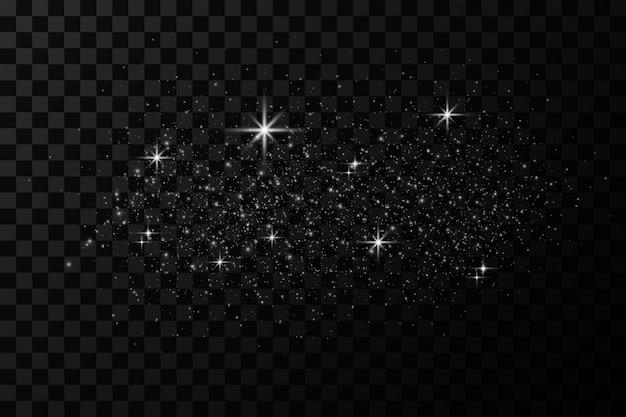Glow lichteffect. vector illustratie. kerstflits. stof. vallende sneeuw. decoratie.