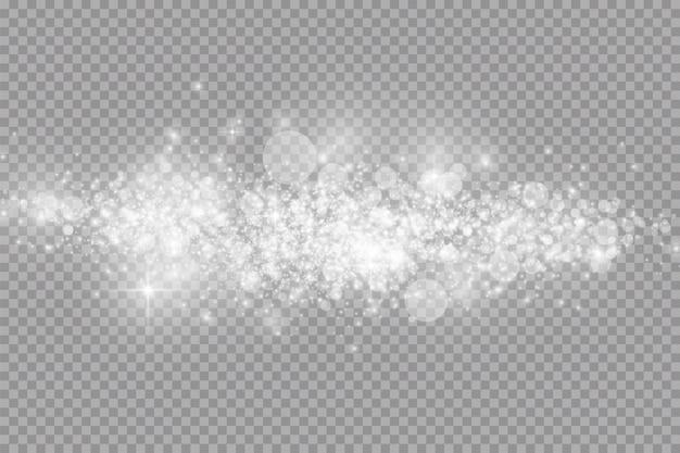 Glow lichteffect. witte vonken en glitter schittert op transparant