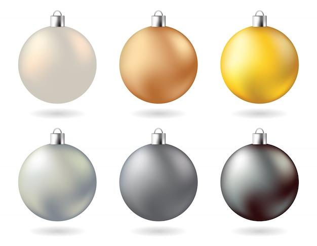 Glow metal kerstballen goud zilver koper zwart wit kleur
