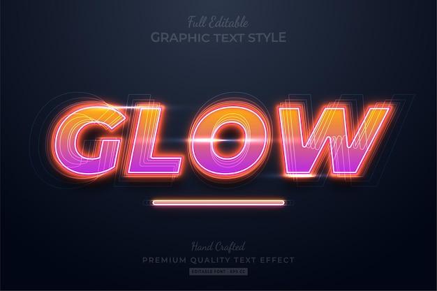 Glow neon gradient teksteffect bewerkbare premium-lettertypestijl