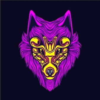 Glow wolf kunstwerk illustratie
