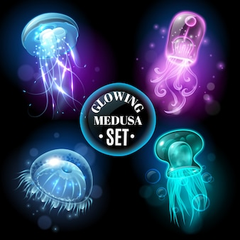 Glowing jellyfish medusa set poster
