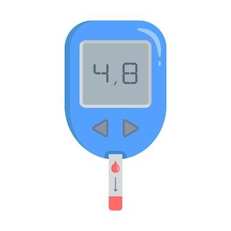 Glucometer met teststrip een apparaat voor het meten van de bloedsuikerspiegel de indicator op het scherm