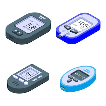 Glucosemeter set, isometrische stijl