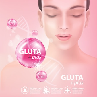 Gluta collageen serum huidverzorging cosmetisch