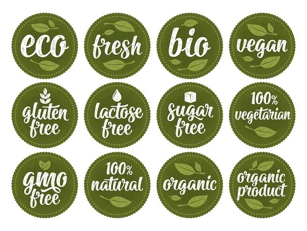 Gluten, lactose, suiker, ggo-vrije belettering. teken 100 biologisch voedsel