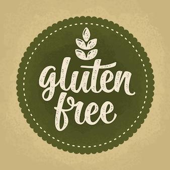 Glutenvrije belettering met blad beige vintage vectorillustratie geïsoleerd op groene cirkel sticker