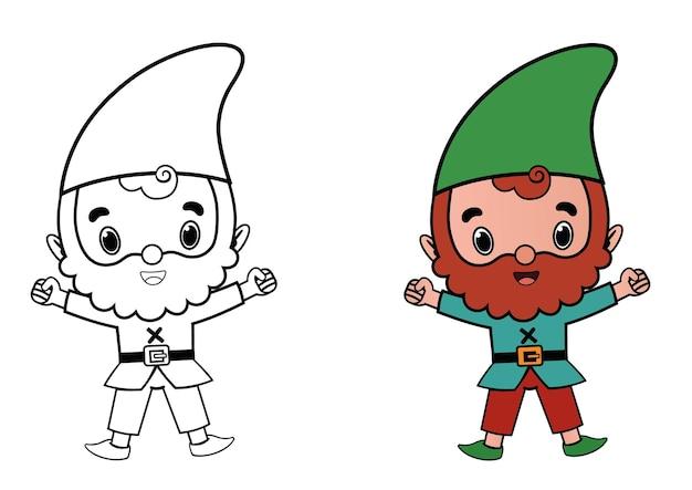 Gnome karakter voor kleurplaat activiteit vectorillustratie