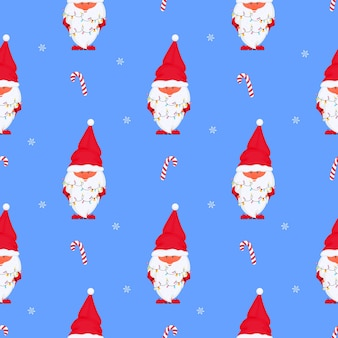 Gnome met kerstverlichting vector naadloos patroon voor nieuwjaarsvakantie