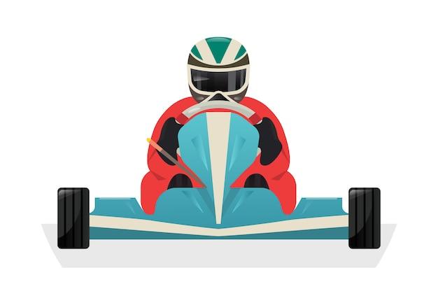 Go kart racer geïsoleerde pictogram