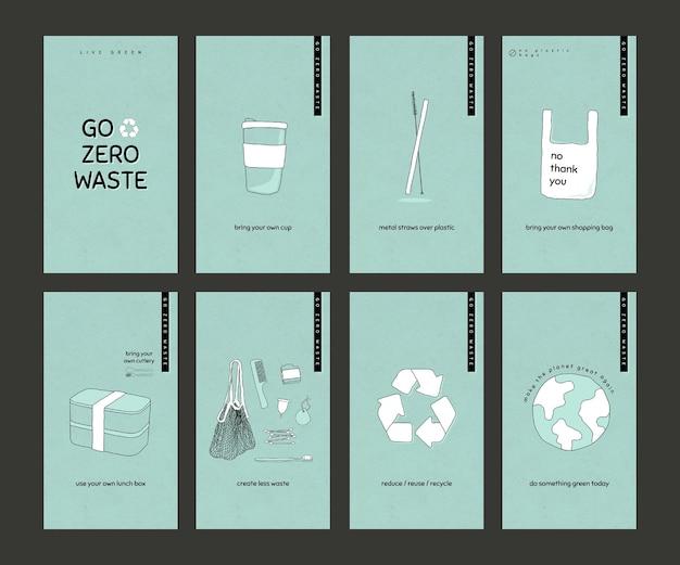 Go zero waste social media story template set