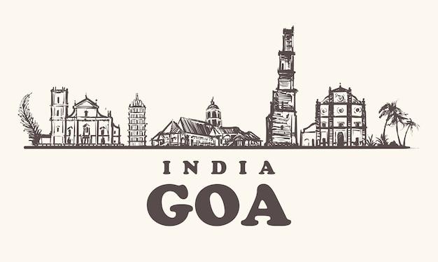 Goa schets landschap geïsoleerd op wit