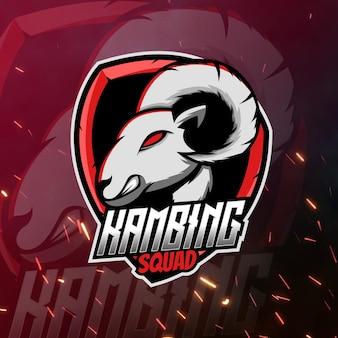 Goat mascot logo goat gaming logo voor streamer of maker van inhoud