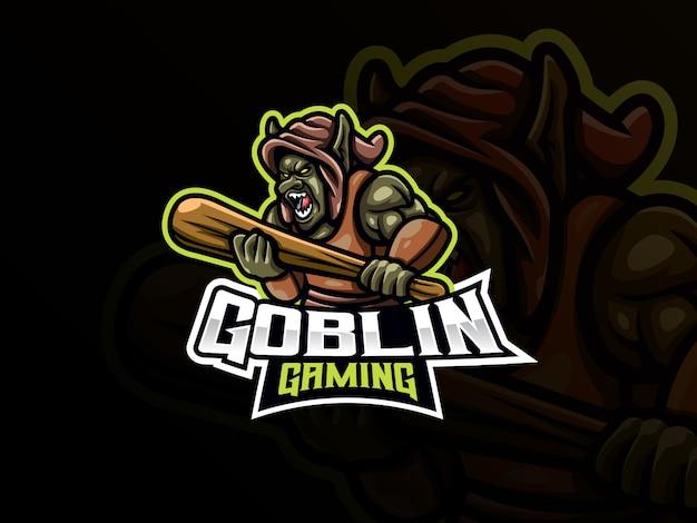 Goblin mascotte sport logo-ontwerp