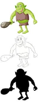Goblin of trol in kleur en omtrek en silhouet in stripfiguur