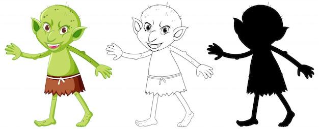 Goblin of trol in kleur en overzicht en silhouet in stripfiguur op witte achtergrond