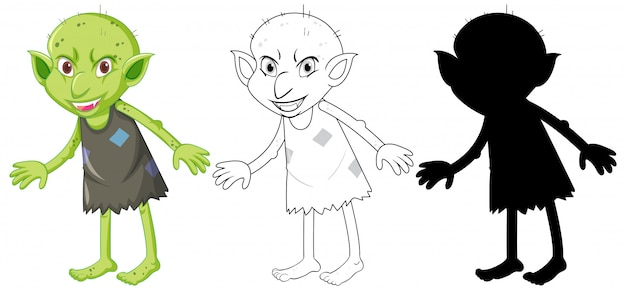 Goblin of trol in kleur en silhouet in stripfiguur op witte achtergrond