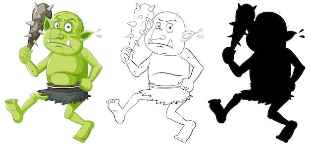 Goblin of trol met jachthulpmiddel in kleur en omtrek en silhouet in stripfiguur op witte achtergrond