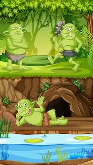 Goblins of trollen met grot bos huis in cartoon stijl