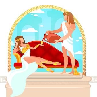 God dionysus gietende wijn aan aphrodite godin