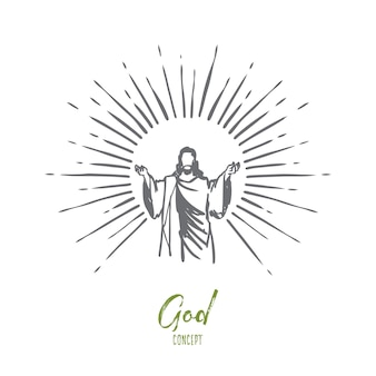 God, jezus christus, genade, goed, hemelvaartsconcept. hand getekend silhouet van jezus christus, de zoon van god concept schets.