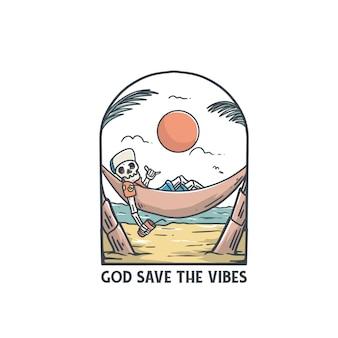 God redt het ontwerp van het de t-shirtstrand van de vibesillustratie