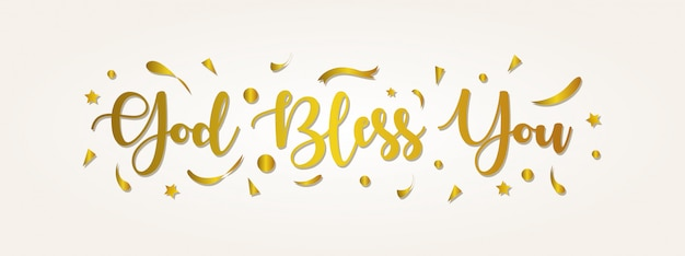 God zegene je belettering. groet banner met gouden kleur