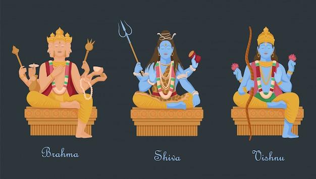 Goden van het hindoeïsme vishnu, shiva, brahma. drie belangrijke hindoegoden scheppers van universum.