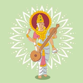 Godin die het muziekinstrument gelukkige saraswati speelt
