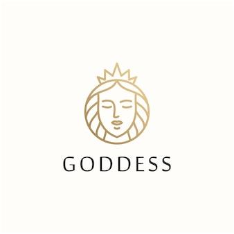 Godin schoonheid vrouw vector logo ontwerpsjabloon