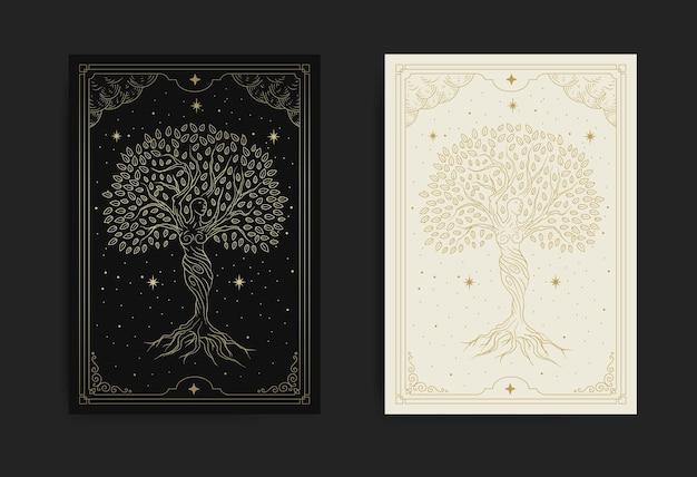 Godin van de boom die danst in de mystieke nacht vol sterren