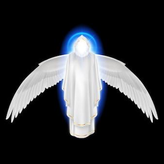Gods beschermengel in witte jurk met blauwe uitstraling en vleugels neer op zwarte achtergrond.