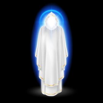 Gods beschermengel in witte jurk met blauwe uitstraling.