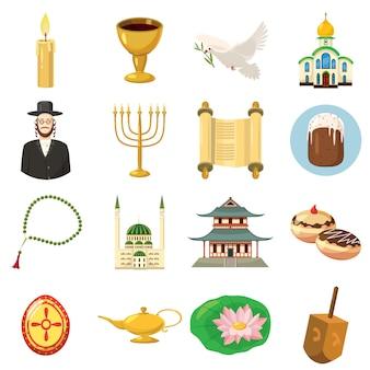 Godsdienstpictogrammen in geïsoleerde beeldverhaalstijl worden geplaatst die