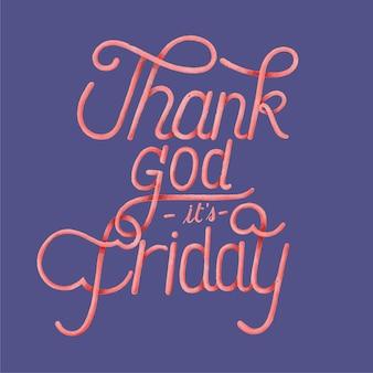 Godzijdank is het vrijdag typografie ontwerp Gratis Vector