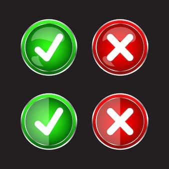 Goed fout en vinkje glanzend pictogram accepteren en weigeren. goed en fout. groen rood verloop geïsoleerd