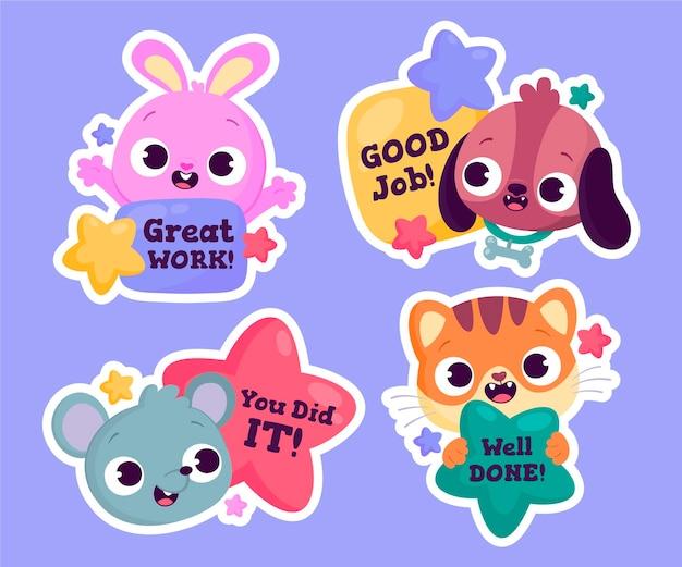 Goed gedaan en geweldig werk stickers set