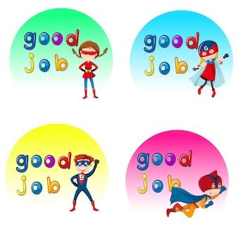 Goed gedaan superheld karakter stickers