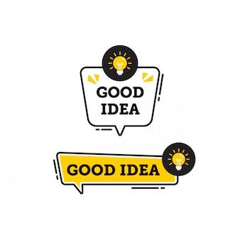 Goed idee vector logo pictogram of symbool set met zwarte gele lijnelement geschikt voor sociale media en web communiceren. emblemen en banners vector set geïsoleerd op een witte achtergrond